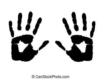 afdrukken, handen
