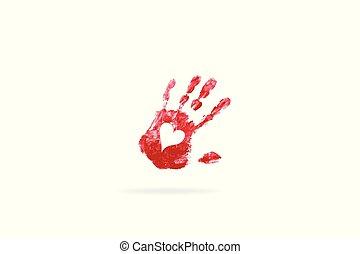 afdrukken, hart, hand, liefde, logo