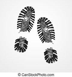 afdrukken, icon., zwarte schoen, vector.