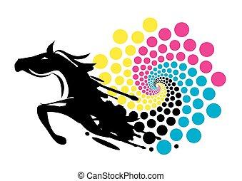 afdrukken, kleur, paarde, cirkel