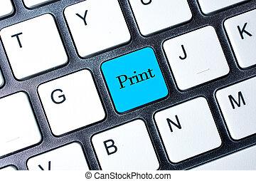 afdrukken, knoop, computer, witte , toetsenbord