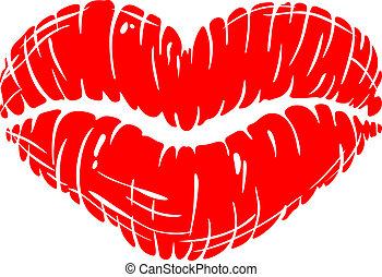 afdrukken, lippen, rood, seksueel