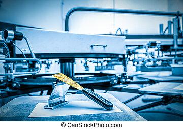 afdrukken, machine., metaal, het controleren