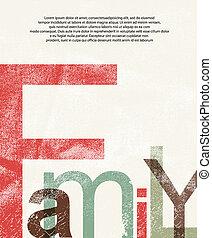 afdrukken, oud, gezin, achtergrond