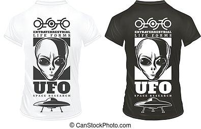 afdrukken, ouderwetse , mal, ufo