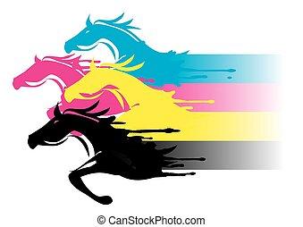 afdrukken, paarden, kleuren