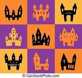 afdrukken, silhouettes, halloween