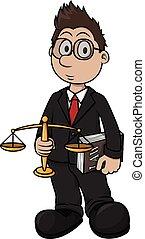 afdrukken, spotprent, illustratie, advocaat