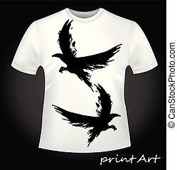 afdrukken, -, t-shirt, vliegende vogels