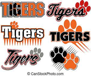 afdrukken, tijgers, ontwerpen, poot