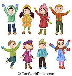 afdrukken, vrolijke , winter, kinderen, kleren