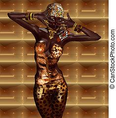 afdrukken, vrouw, luipaard, afrikaan