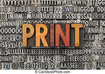 afdrukken, woord, in, letterpress, type