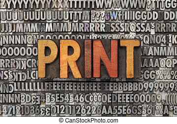 afdrukken, woord, type, letterpress