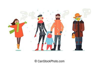 afectuosamente, invierno, gente, vestido, ilustración, vector, tiempo