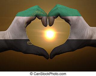 afeganistão, feito, amor, colorido, coração, mostrando, bandeira, gesto, mãos, durante, símbolo, amanhecer