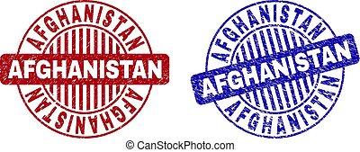 afeganistão, grunge, selo, selos, textured, redondo