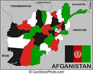 afeganistão, político, mapa