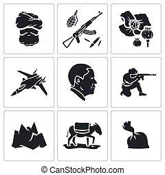 afeganistão, vetorial, jogo, ícones