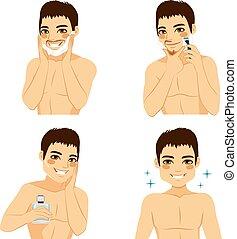 afeitada, cómo, pasos, hombre