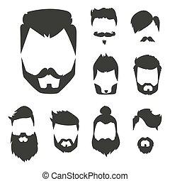 afeitada, estilo, conjunto, viejo, vendimia, corte de pelo, ...