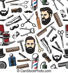 afeitada, patrón, corte de pelo, seamless, barbería, hombre