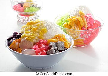 afeitado, hielo, postre, y, frutas frescas