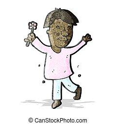 afeminado, flor, caricatura, hombre