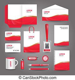 affär, abstrakt, vågig, mall, skrivpapper, röd