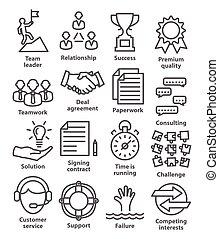 affär, administration, ikonen, in förfaringssätt, style., packe, 10.