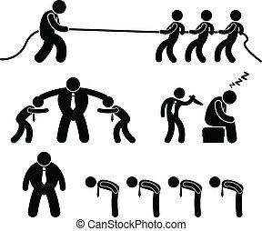 affär, arbetare, stridande, pictogram