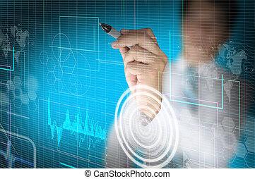affär, arbete, virtuell, hand, digital, gräns flat, man