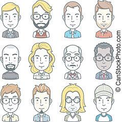 affär, avatar, icons., folk