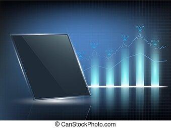 affär, bakgrund, med, graf