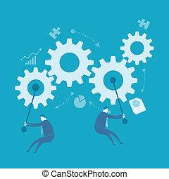 affär, bearbeta, drev, förbättring, snurrande, man