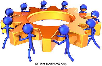 affär, bearbeta, teamwork, begrepp