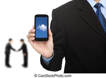 affär, beräkning, framgångsrik, ringa, moln, smart
