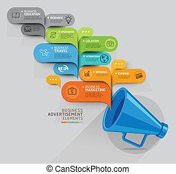 affär, concept., megafon, och, bubbla, anförande, template.,...