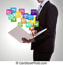 affär, färgrik, ikonen, laptop, ansökan, man