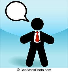 affär, figur, försäljningarna, anförande, käpp, talar, bubbla, man