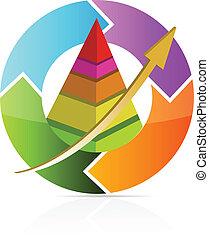 affär, flyttning, pyramid, kartlägga