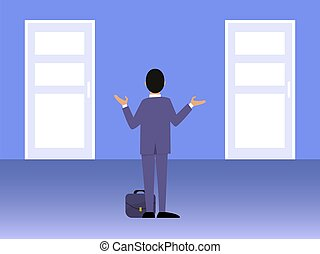 affär, främre del, affärsman, beslut, door., vektor, välja, manlig, passa, stående, två, strategy., rättighet, illustration., man, dörrar, välja