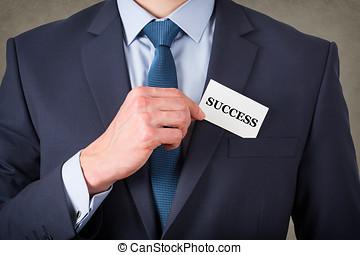 affär, framgång, kort