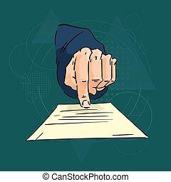 affär, geometrisk, papper, över, peka, finger, bakgrund, man...