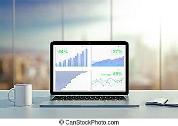 affär, graf, på, laptop, avskärma, med, kaffe kopp, och, dagbok, på bordet