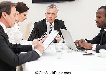 affär, grupp, brainstorming