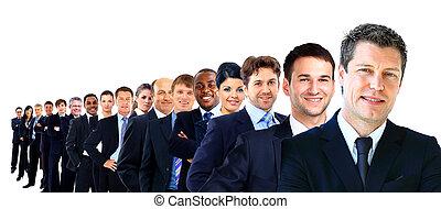 affär, grupp, i en ro, isolerat, över, a, vit fond