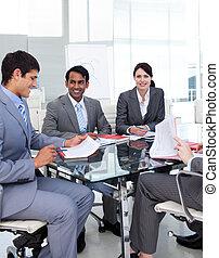 affär, grupp, in, a, presentation