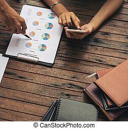 affär, grupp, möte, frilans, arbete, grupp