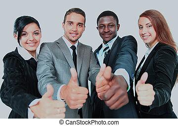 affär, grupp, med, tummar uppe, isolerat, över, vit, bakgrund.
